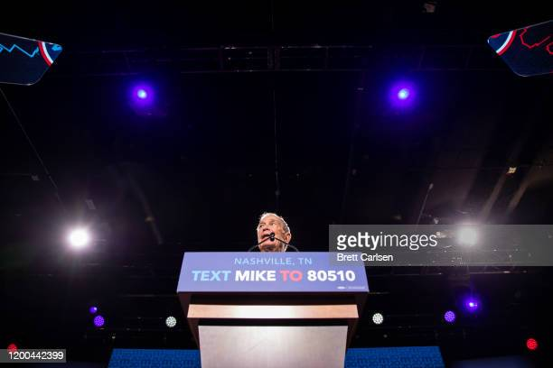 Democratic presidential candidate former New York City Mayor Mike Bloomberg delivers remarks during a campaign rally on February 12, 2020 in...