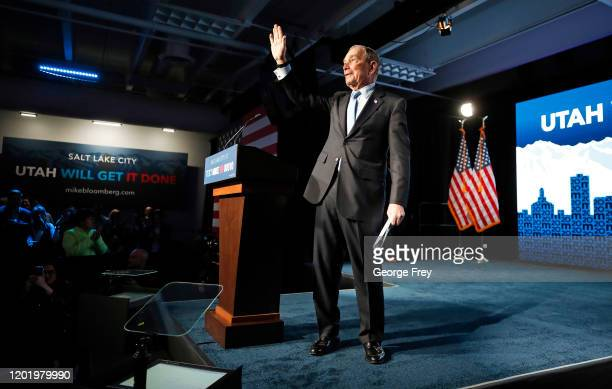 Democratic presidential candidate, former New York City mayor Mike Bloomberg leaves the stage after talking to supporters at a rally on February 20,...
