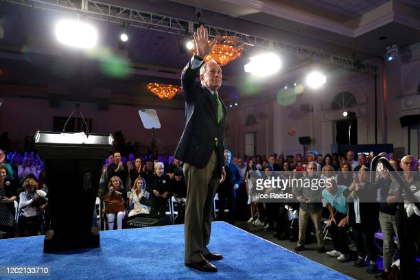 "Democratic presidential candidate former New York City Mayor Mike Bloomberg campaigns during a ""United for Mike,"" event held at the Aventura..."