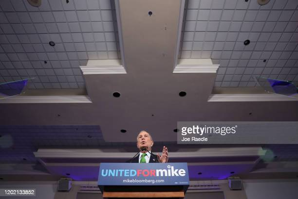 """Democratic presidential candidate former New York City Mayor Mike Bloomberg speaks during a """"United for Mike"""" event held at the Aventura Turnberry..."""