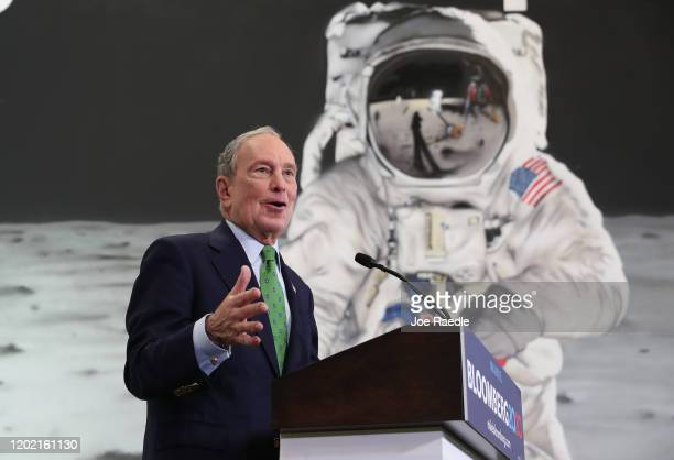Democratic presidential candidate former New York City Mayor Mike Bloomberg speaks during a campaign stop on January 26 2020 in Miami Florida Mr...