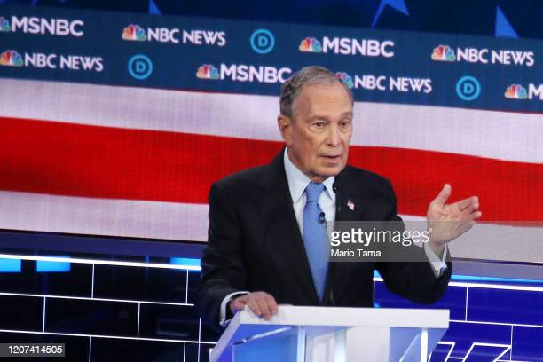 Democratic presidential candidate former New York City mayor Mike Bloomberg speaks during the Democratic presidential primary debate at Paris Las...