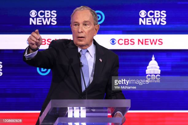 Democratic presidential candidate former New York City Mayor Mike Bloomberg speaks during the Democratic presidential primary debate at the...