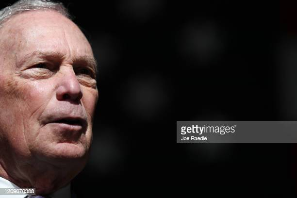 Democratic presidential candidate former New York City mayor Mike Bloomberg speaks to supporters during a rally held at The Rustic on February 27...