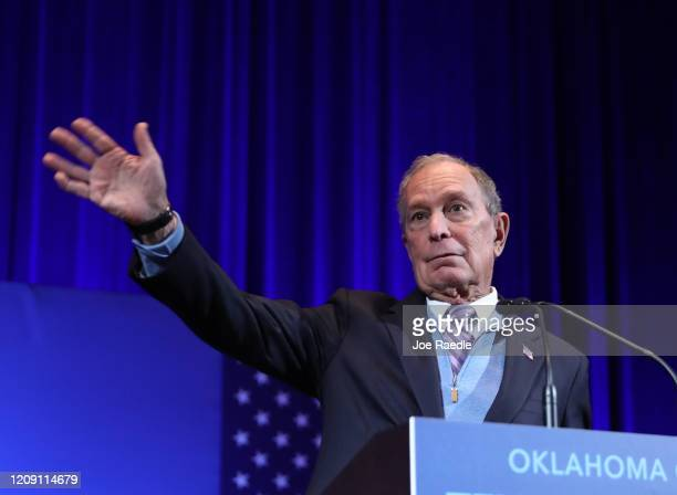 Democratic presidential candidate former New York City mayor Mike Bloomberg speaks during a rally held at the Bricktown Events Center on February 27...