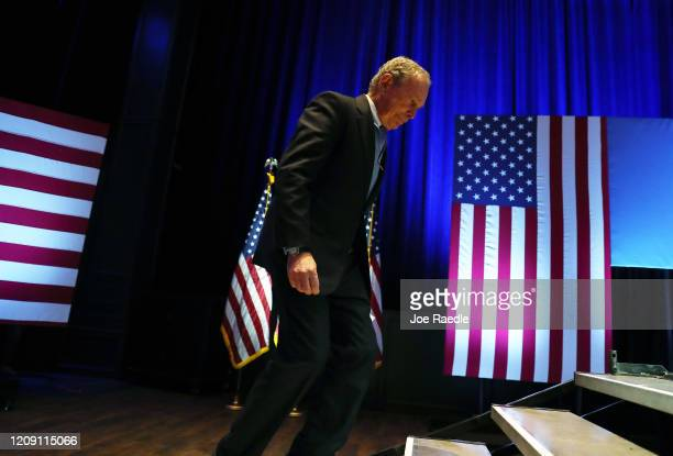 Democratic presidential candidate former New York City mayor Mike Bloomberg walks on stage to speak during a rally held at the Bricktown Events...