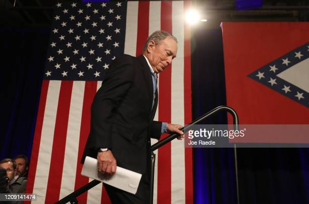 Democratic presidential candidate former New York City mayor Mike Bloomberg arrives to speak during a rally held at the Record Downtown on February...