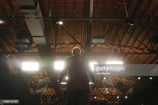 Democratic presidential candidate former New York City mayor Mike Bloomberg speaks during a rally held at the Record Downtown on February 27 2020 in...