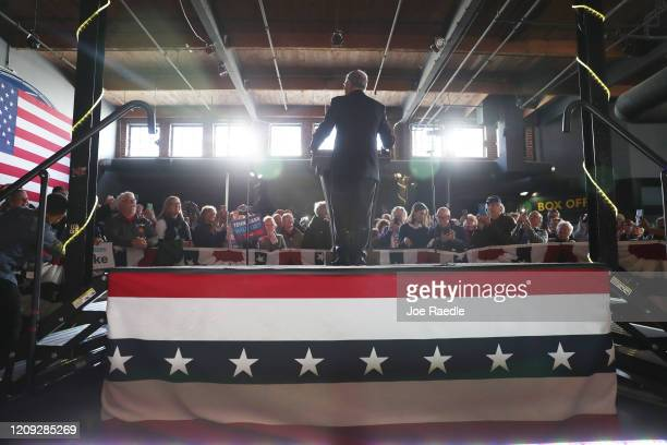 Democratic presidential candidate former New York City mayor Mike Bloomberg speaks during a rally held at the Minglewood Hall on February 28 2020 in...