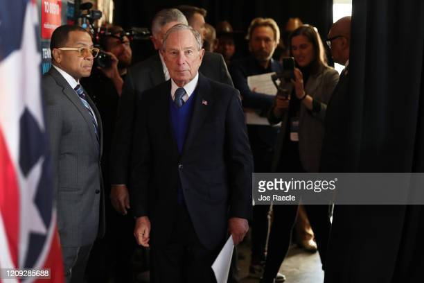 Democratic presidential candidate former New York City mayor Mike Bloomberg waits to be introduced to speak during a campaign rally held at the...