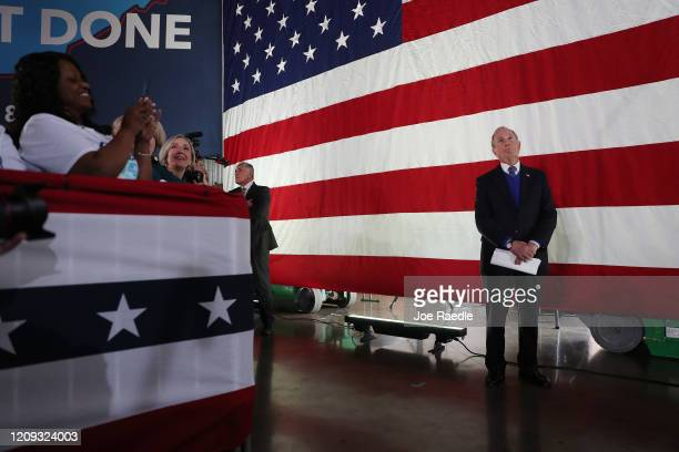 Democratic presidential candidate former New York City mayor Mike Bloomberg waits to be introduced to speak during a rally held at the Old Glory...
