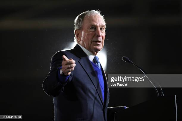 Democratic presidential candidate, former New York City mayor Mike Bloomberg speaks during a campaign rally held at the Tri-City Aviation on February...