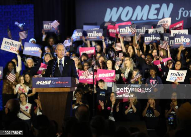 Democratic presidential candidate former New York City mayor Mike Bloomberg speaks during a rally held at the Hilton McLean Tysons Corner on February...