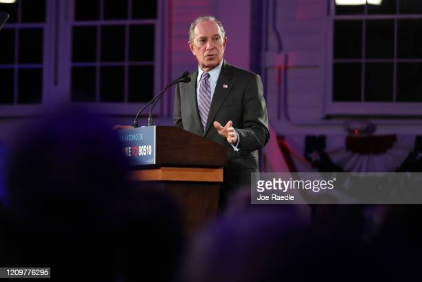 Democratic presidential candidate, former New York City mayor Mike Bloomberg speaks during a campaign rally at Hangar 9 on March 1, 2020 in San...