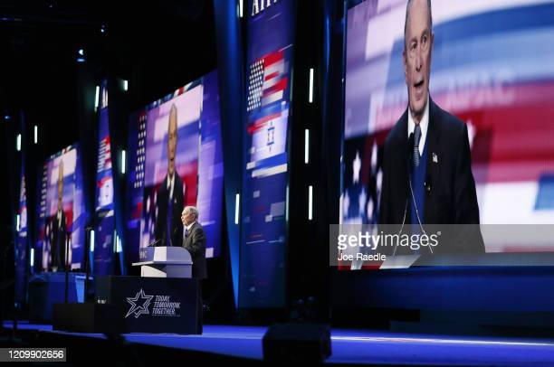Democratic presidential candidate former New York City mayor Mike Bloomberg speaks at the American Israel Public Affairs Committee Policy Conference...