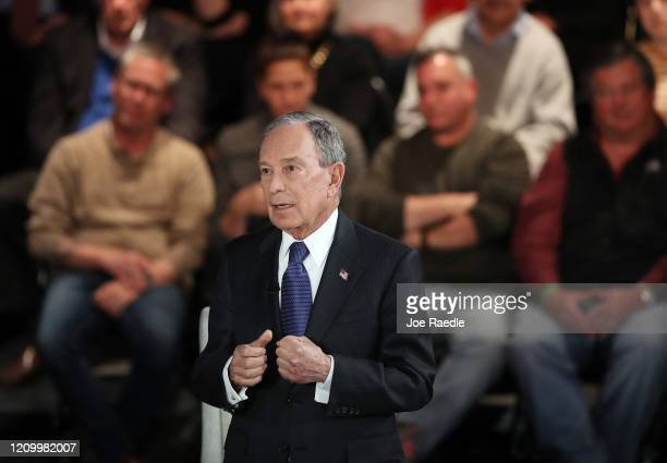 Democratic presidential candidate former New York City mayor Mike Bloomberg speaks during a Fox News town hall held at the Hilton Performing Arts...