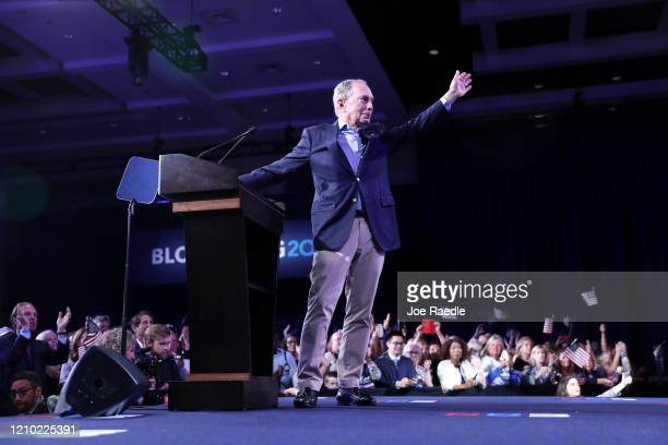 Democratic presidential candidate former New York City Mayor Mike Bloomberg speaks at his Super Tuesday night event on March 03, 2020 in West Palm...