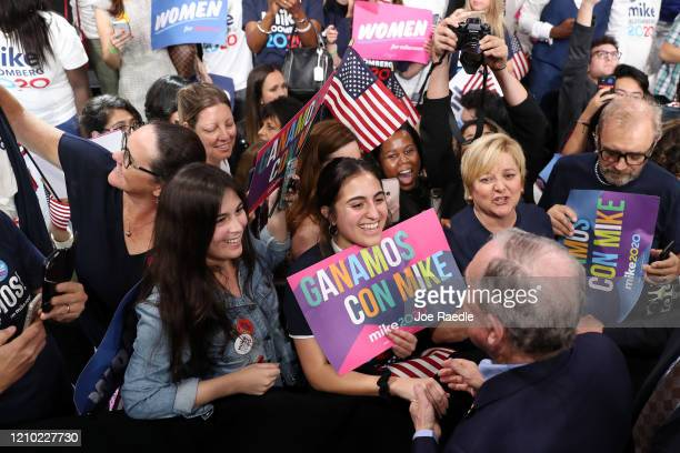 Democratic presidential candidate former New York City mayor Mike Bloomberg greets supporters at his Super Tuesday night event on March 03 2020 in...