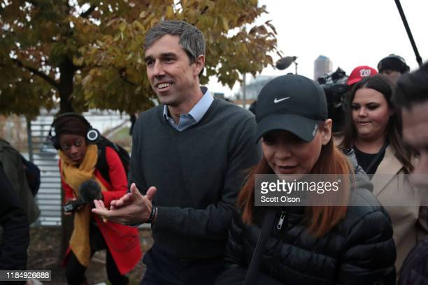 Democratic presidential candidate former Rep Beto O'Rourke arrives to address his supporters after announcing he was dropping out of the presidential...