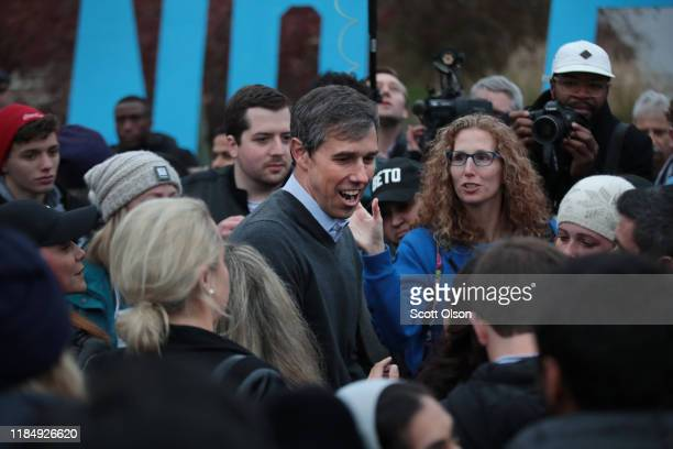 Democratic presidential candidate former Rep Beto O'Rourke greets his supporters after announcing he was dropping out of the presidential race before...