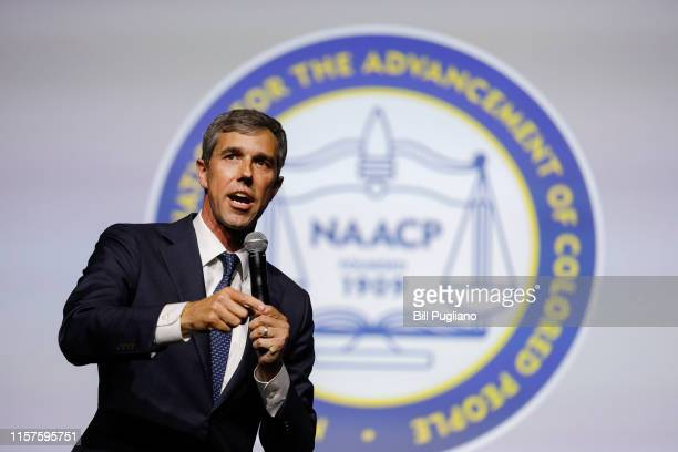 Democratic presidential candidate former Rep Beto O'Rourke participates in a Presidential Candidates Forum at the NAACP 110th National Convention on...