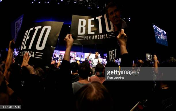 Democratic presidential candidate, former Rep. Beto O'Rourke speaks during a campaign rally on October 17, 2019 in Grand Prairie, Texas. O'Rourkes...