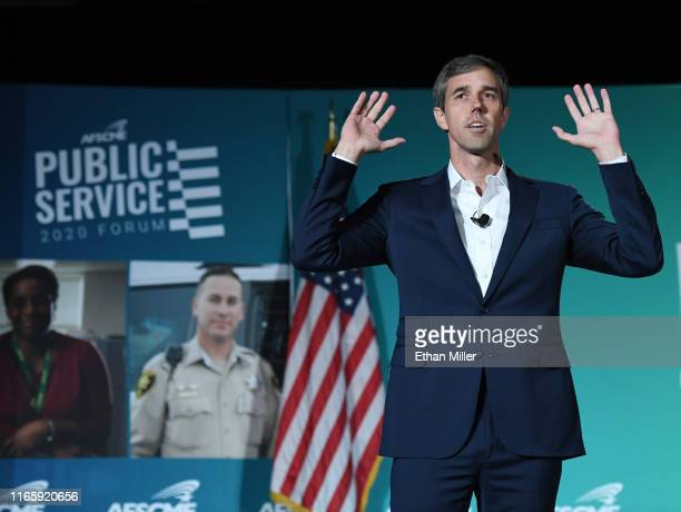 Democratic presidential candidate former Rep Beto O'Rourke speaks during the 2020 Public Service Forum hosted by the American Federation of State...