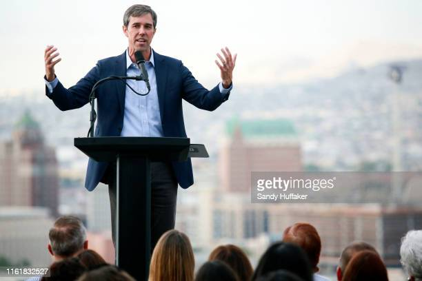 Democratic presidential candidate former Rep Beto O'Rourke speaks to media and supporters during a campaign relaunch on August 15 2019 in El Paso...