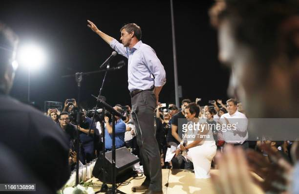 Democratic presidential candidate former Rep Beto O'Rourke speaks to the crowd at an interfaith vigil for victims of a mass shooting which left at...