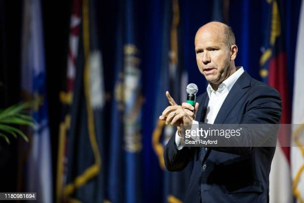 Democratic presidential candidate, former Rep. John Delaney addresses the audience at the Environmental Justice Presidential Candidate Forum at South...