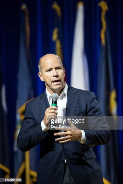 Democratic presidential candidate former Rep John Delaney addresses the audience at the Environmental Justice Presidential Candidate Forum at South...