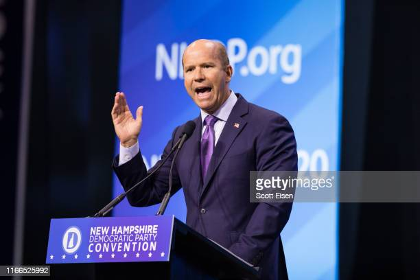 Democratic presidential candidate, former Rep. John Delaney speaks at the New Hampshire Democratic Party Convention at the SNHU Arena on September 7,...