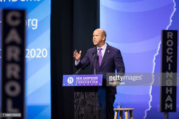 Democratic presidential candidate former Rep John Delaney speaks at the New Hampshire Democratic Party Convention at the SNHU Arena on September 7...