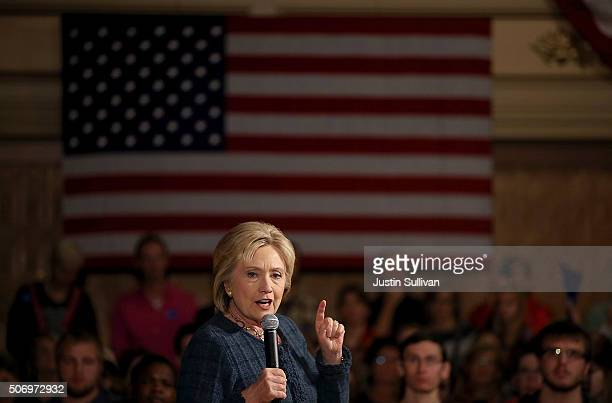 """Democratic presidential candidate former Secretary of State Hillary Clinton speaks during a """"get out the caucus"""" event at the Steyer Opera House on..."""