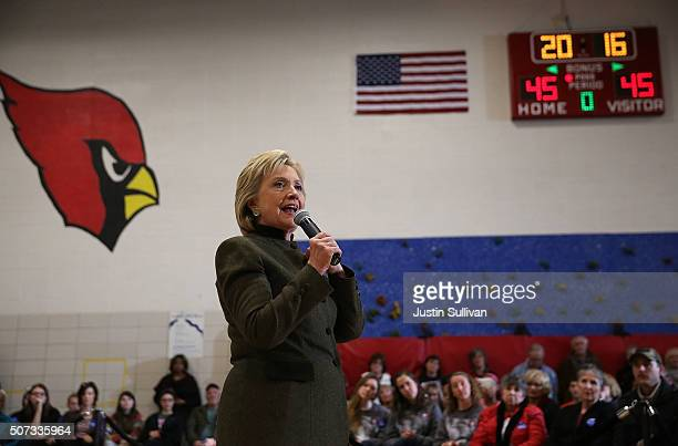 """Democratic presidential candidate former Secretary of State Hillary Clinton speaks during a """"get out the caucus"""" event at Berg Middle School on..."""