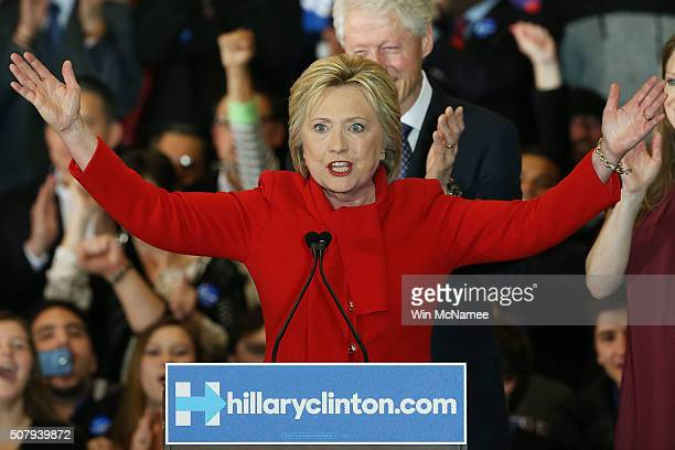 Democratic presidential candidate former Secretary of State Hillary Clinton speaks to supporters during her caucus night event in the Olmsted Center...