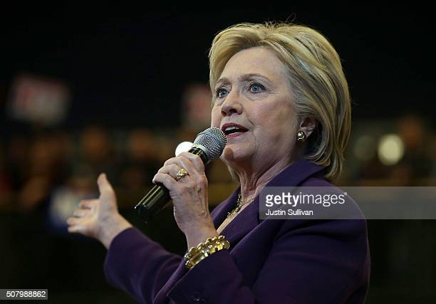 Democratic presidential candidate former Secretary of State Hillary Clinton speaks during a 'get out the vote' event at Nashua Community College on...