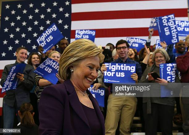 Democratic presidential candidate former Secretary of State Hillary Clinton arrives for a get out the vote event at Nashua Community College on...