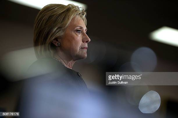 Democratic presidential candidate former Secretary of State Hillary Clinton looks on during a get out the vote event at Derry Boys and Girls Club on...
