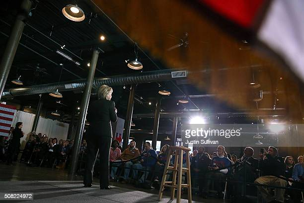 Democratic presidential candidate former Secretary of State Hillary Clinton speaks during a get out the vote event at Rivermill at Dover Landing on...
