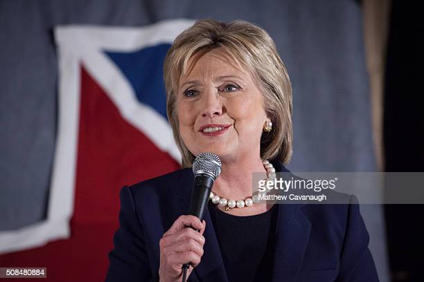Democratic presidential candidate former Secretary of State Hillary Clinton speaks to supporters at a debate watching party on February 4 2016 in...