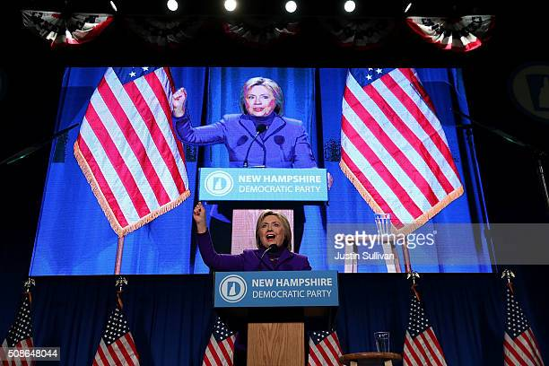 Democratic presidential candidate former Secretary of State Hillary Clinton speaks at the 2016 McIntyre Shaheen 100 Club Celebration on February 5...