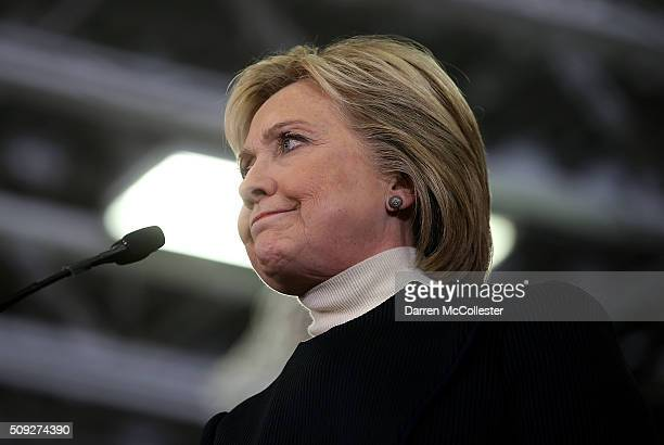 Democratic presidential candidate former Secretary of State Hillary Clinton speaks during her primary night gathering at Southern New Hampshire...
