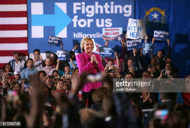 Democratic presidential candidate former Secretary of State Hillary Clinton speaks during a 'Get Out The Caucus' event on February 18 2016 in Las...