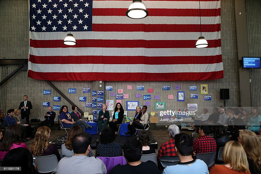 Democratic presidential candidate former Secretary of State Hillary Clinton speaks during a Women and Familes Round Table event at the College of Southern Nevada on February 19, 2016 in North Las Vegas, Nevada. With one day to go before the Democratic caucuses in Nevada, Hillary Clinton is campaigning in Las Vegas.