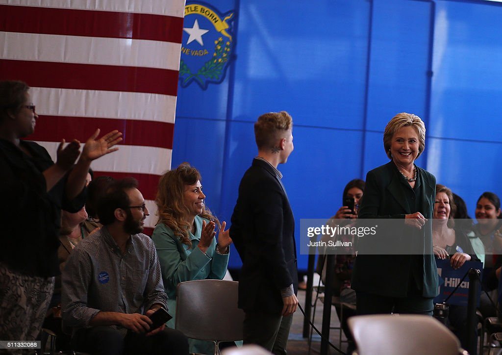 Democratic presidential candidate former Secretary of State Hillary Clinton greets attendees during a Women and Familes Round Table event at the College of Southern Nevada on February 19, 2016 in North Las Vegas, Nevada. With one day to go before the Democratic caucuses in Nevada, Hillary Clinton is campaigning in Las Vegas.