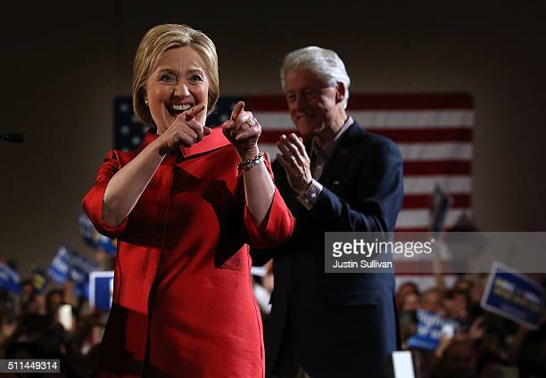 Democratic presidential candidate former Secretary of State Hillary Clinton greets supporters during a caucus day event at Caesers Palace on February...
