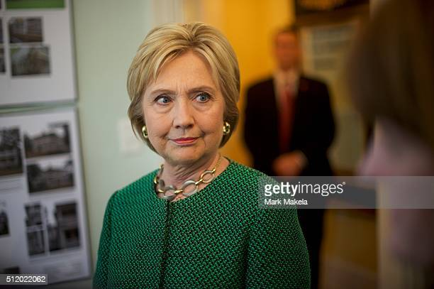 Democratic Presidential candidate former Secretary of State Hillary Clinton visits the nonprofit SC Strong a 2 year residential facility that helps...