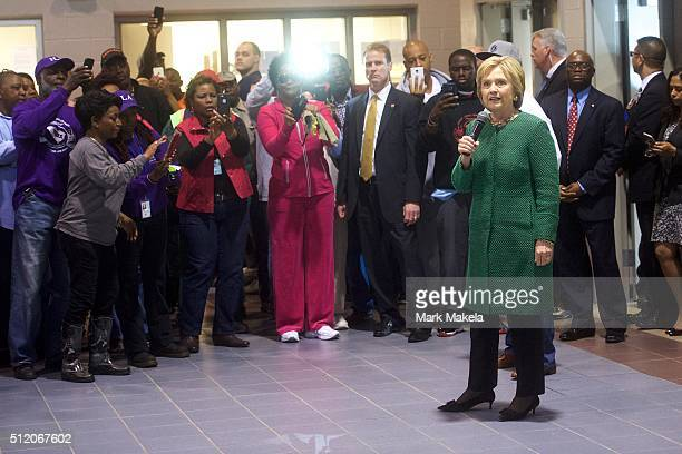 Democratic Presidential candidate former Secretary of State Hillary Clintonspeaks at the International Longshoremen's Association Local 1422 February...