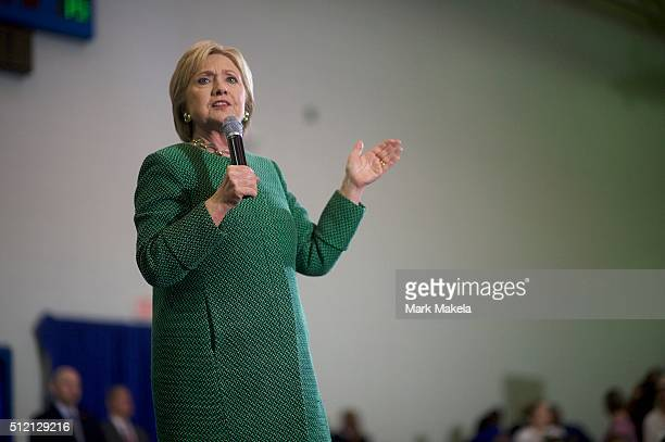 Democratic Presidential candidate former Secretary of State Hillary Clinton holds a Breaking Down Barriers Town Hall at Morris College February 24...